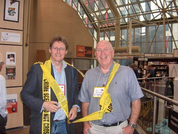 The inexhaustible Peter Newson, Headline's export sales director, and QJ at Book Expo, Toronto 2008.